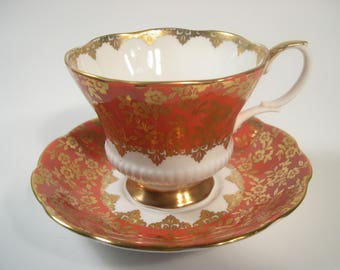 Royal Albert Tea Cup and Saucer, Orange and Gold tea cup and saucer set, Consort Series Teacup Set.