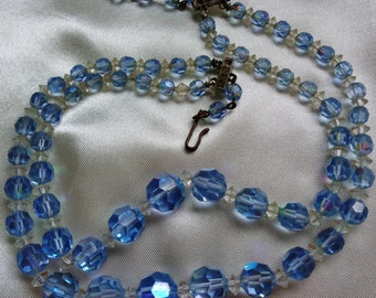 vintage Necklace costume jewelry blue crystal beads double strand Mad Men