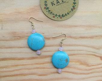 SALE!Earrings  . Blue teal and rose quartz