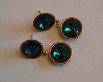 Emerald green vintage 1990's earrings