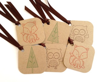 Woodland Tags - Fall Gift Bag Tags - Owl Tags - Fox Tags - Cute Animal Favor Tags - Stamped Forest Tag Set - Kids Tags - To From Hang Tags