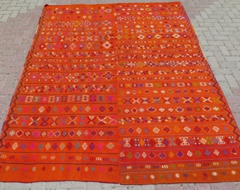 """Montana Dust Area Rug, Gorgeous Vintage Turkish kilim, 103"""" x 81"""", area rug, orange embroidered kilim rug, kelim, vintage rug, rug, 631"""