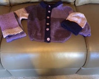Button down the front toddler sweater with matching hat and scarf.