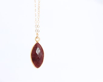 Marquise Ruby Necklace - Gemstone Necklace - July Birthstone - Bezel - Red Bridesmaids Gift - Layering Necklace - Simple - Natural Raw Stone