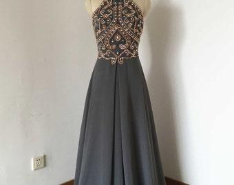 Backless Spaghetti Straps Charcoal Grey Chiffon Long Prom Dress 2017