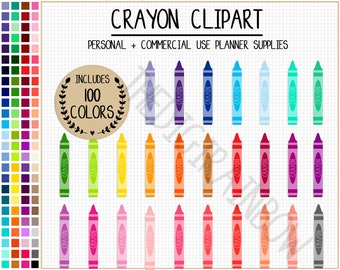 SALE 100 CRAYON clipart rainbow crayon stickers back to school clipart pencil printable planner stickers teacher planner school printable