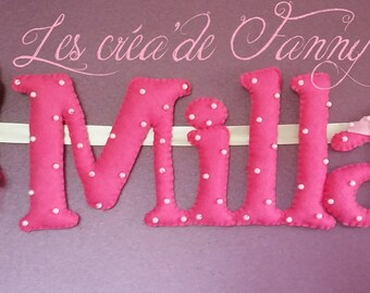 felt name Garland pink with Princess