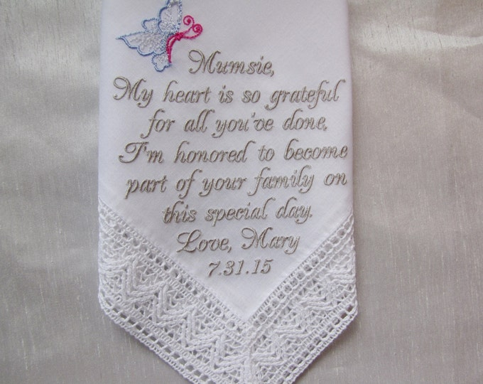 Personalized Mother of the Groom Keepsake Wedding Handkerchief with Butterfly motif