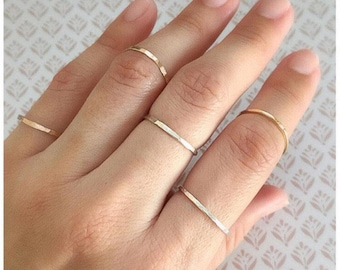 Sterling Silver Ring, Stackable Ring, Stacked Ring, Sterling Silver Ring, Oxidized Silver Ring, Midi Ring, Hammered Ring - Set of 5