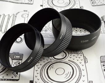 55mm Lens hood with No 3 and No 4 adapter rings