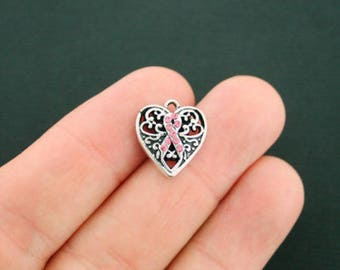 2 Breast Cancer Charms Pink Ribbon Awareness with 9 Pink Rhinestones SC2715