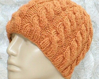 Cable knit beanie hat, topaz butterscotch gold, winter hat, toque, beanie hat, cable hat, womens mens knit hat, chemo cap, gold hat, hiking