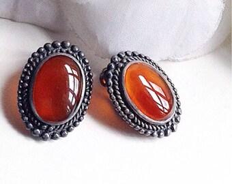 Vintage  Earrings, Carnelian Earrings  Sterling Silver Earrings, Vintage Oval Earrings, Oval Carnelian  Earrings, Semi Precious Earrings,