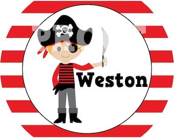 Personalized Pirate Boy Melamine Plate