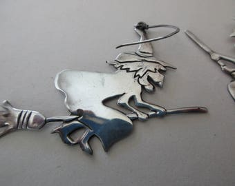 large vintage sterling silver earrings - WITCH flying on a broom, pierced, 925, scary, dangle