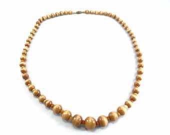 Wood Bead Necklace, Vintage Medium Wood Bead Necklace