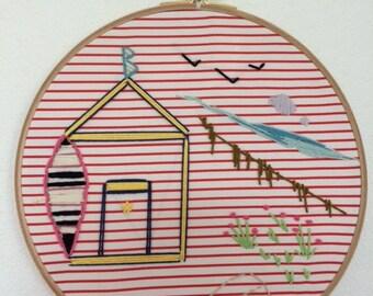 My beach hut embroidered drum