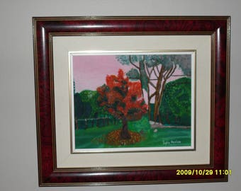 Oil painting 8 x 10 / gift for him and her / decor / autumn landscape