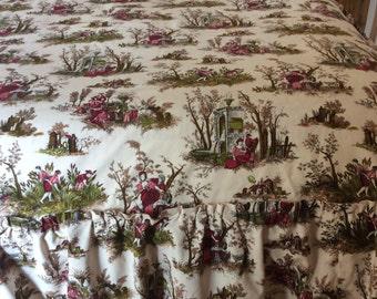 RÉDUIT SPÉCIAL PRIX belle main Vintage tissu Demi couvre-lit avec volant