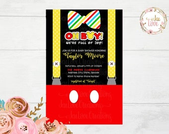 Mickey Mouse Little Man 1Baby Shower Invitation