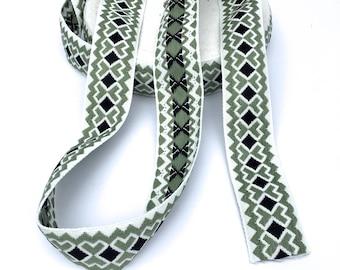 SALE *** Cotton Woven Jacquard Ribbon Jacquard Trim  Green Trim Green Ribbon 1.25  inches wide