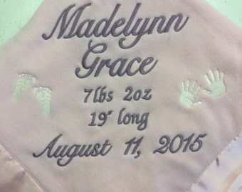 """Micro Fleece Baby Blanket with 2"""" Satin Trim Edging with Custom Embroidery"""