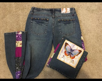 Patchwork Butterfly jeans size 7/8 One of a kind - by GmaJanisew