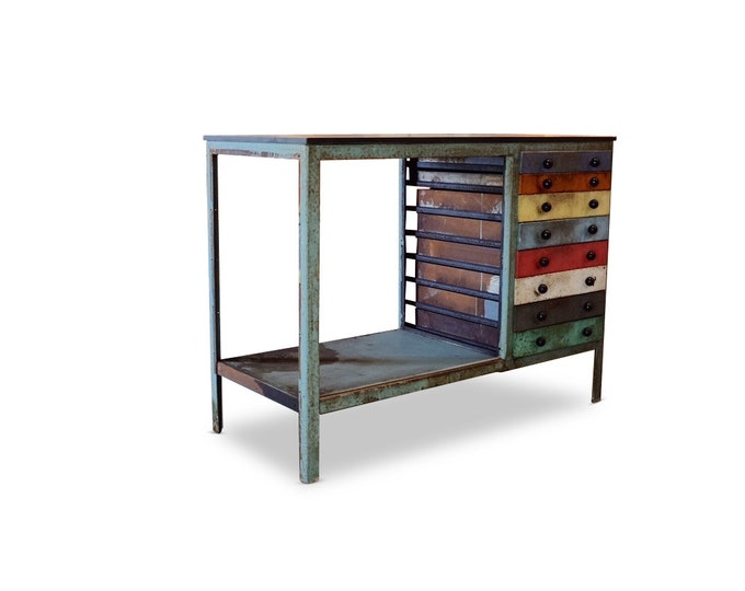 Metal Cabinet w/ Multicolored Drawers