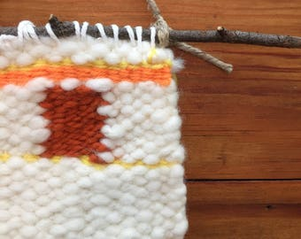 Fall Orange Cream Tapestry Weaving Wall Hanging