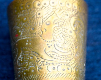 Antique Hand Made Indian Lassi Cup Solid Brass Stunning Etched Detail