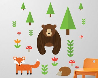 Nursery Decals, Nursery Wall Decals, Bear Wall Decal, Fox Wall Decal, Wall Decal Forest, Forest Nursery Decal, Woodland Decal