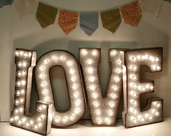 Galvanized Metal Marquee Light Letter- 21""