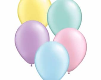 Pastel Birthday Balloons. First Birthday. Party supplies. Party balloons. Party Decorations. Pastel color balloons. Custom Color Ribbon.