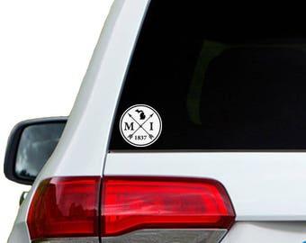 Michigan Arrow Year Car Window Decal Sticker