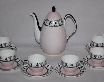 Foley Bone China - Fairy Silhouette Pink - Coffee Service for 6 - c1950