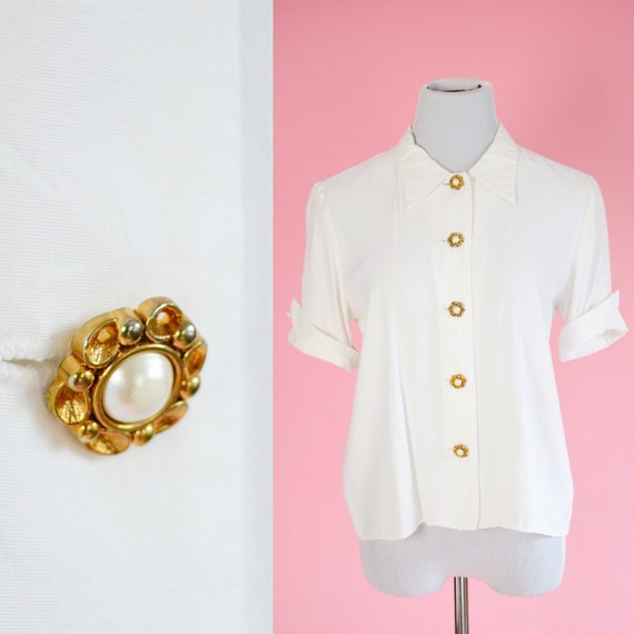 Vintage 50s Blouse // White, Gold And Pearl Buttons, 1950s, Women Size Medium by Etsy