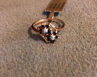 10k gold natural blue sapphire diamond ring