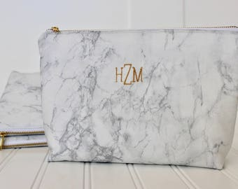 White Marble Makeup Bag | Monogram Marble Cosmetic Bag | Marble Travel Bag | Black Marble| Bridesmaid Gift | Gift for Her