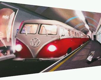 Novelty VW Campervan Tube Camden Town Canvas Print