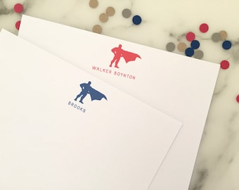 Superhero Cape Stationary - Boys Personalized Stationery Set of 20 Flat Note Cards Thank You Notes