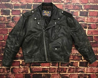 Vintage Avirex Distressed Leather Motorcycle Jacket Leather Jacket Biker Jacket Mens Size Small Leather Moto Jacket Distressed Moto