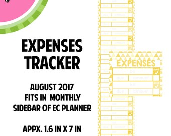 AUGUST 2017 Monthly EXPENSES Tracker Stickers | Vertical Color Palette | LB146
