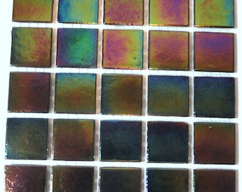 "20mm (3/4"") Black Iridescent Vitreous Glass Mosaic Tiles//Mosaic//Mosaic Supplies// Craft Supplies"