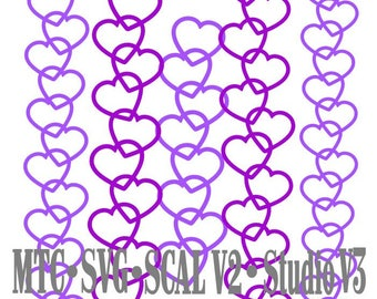 SVG Cut File Border Heart Set #03 Embellishment MTC Cricut SCAL V2 Silhouette Cutting File