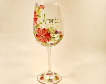 Gerber daisy personalized wine glass for mom sister aunt friend cousin bridesmaid grandma sister in law niece free shipping