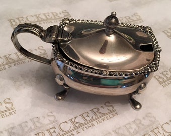 Vintage sterling silver Tiffany & Co Footed Salt Dish with Hinged Cover and Cobalt Blue Glass Dish Insert, British Marks