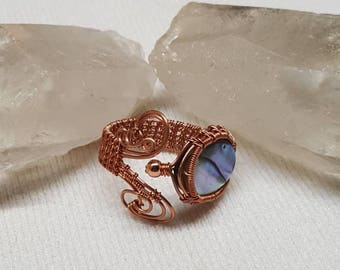 Abalone paua sea shell and copper wire wrapped ring adjustable size 6-10