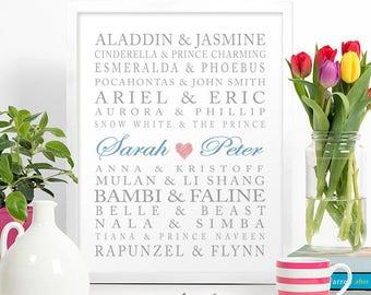 PRINTED //  Couple's Anniversary Disney Inspired Names Wall Art // Custom PRINT // #1012015P