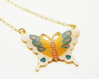 Vintage Pink Butterfly Necklace