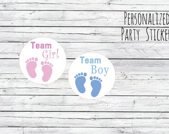 Gender Reveal Stickers Team Boy or Team Girl, Baby Shower Voting, Favor Tags, Labels, You Choose Size